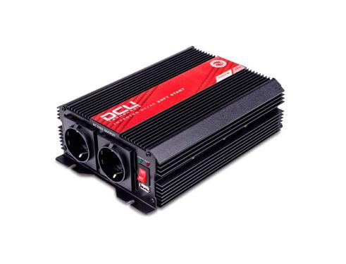 3741241000M Inversor 24V/230V, 1000W, onda sinusoidal modificada, soft-start. Analiza las cargas que existen en la salida del equipo para suministrar gradualmente la tensión requerida, evitando así el suministro de una potencia innecesaria