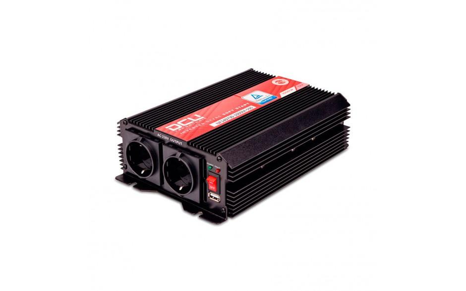 3741121000M Inversor 12V/230V, 1000W, onda sinusoidal modificada, soft-start, TUV. l soft-start es un sistema de arranque suave y retardado, que analiza las cargas que existen en la salida del equipo para suministrar gradualmente la tensión requerida