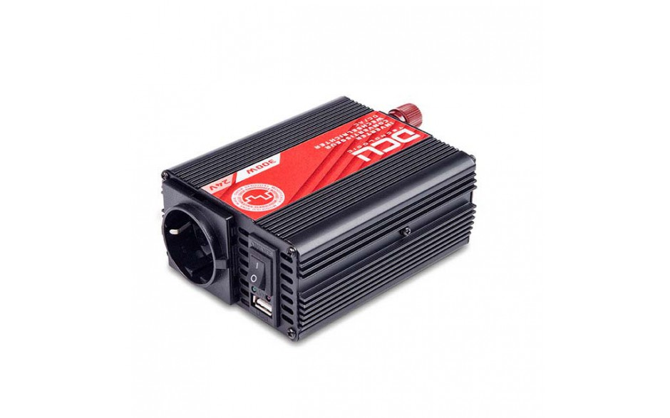 374124300M Inversor 24V/230V, 300W, onda sinusoidal modificada, soft-start. TUV. Analiza las cargas que existen en la salida del equipo para suministrar gradualmente la tensión requerida, evitando así el suministro de una potencia innecesaria