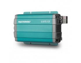 28010700 Convertidor de corriente continua a corriente alterna AC Master 12/700, vista en perspectiva lateral de la parte frontal e inferior donde se encuentran las tomas de alimentación