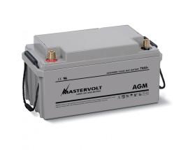 62000700 Batería AGM 12/70Ah , no requiere mantenimiento, tienen la capacidad de descargarse completamente cientos de veces. Vista en perspectiva de la parte frontal